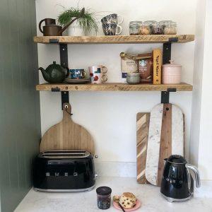 Rustic Wooden Shelf in Raw, Kitchen Setting | Southampton Wood Recycling