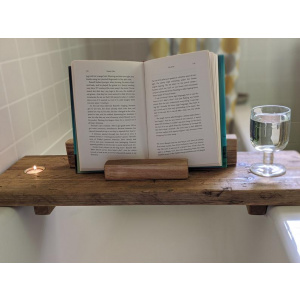 Rustic bathboard with book stand and tealight