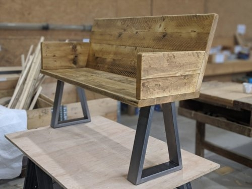 Bespoke scaffold board bench with trapezium legs