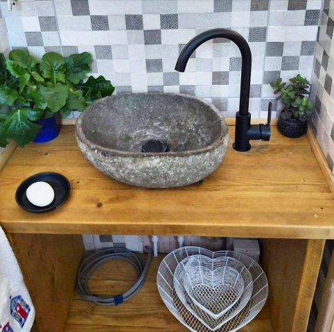 Bespoke sink unit made from reclaimed wood