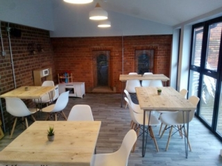 Cafe tables made from reclaimed wood 2