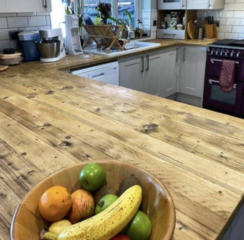 Kitchen worktop counter made from reclaimed wood