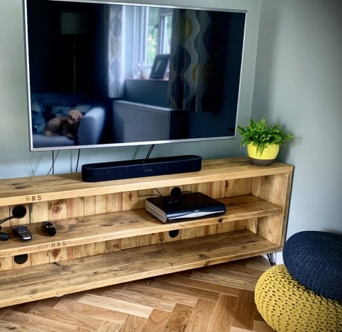 Long TV unit in its new home