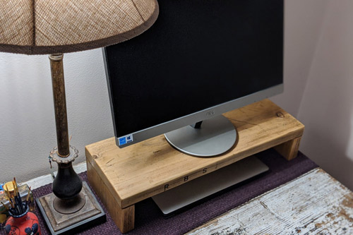 Monitor stand made from recycled scaffold board 1