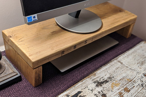 Monitor stand made from recycled scaffold board 3