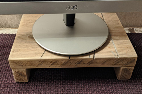Monitor stand made from recycled scaffold board 5