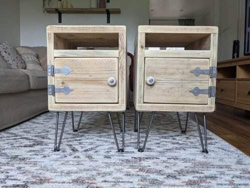 Pair of side tables made from reclaimed wood