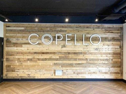 Copello Recruitment pallet branded wall