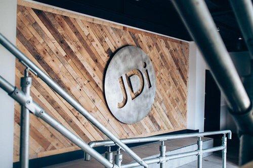 Reclaimed pallet wall at JDi in Fareham