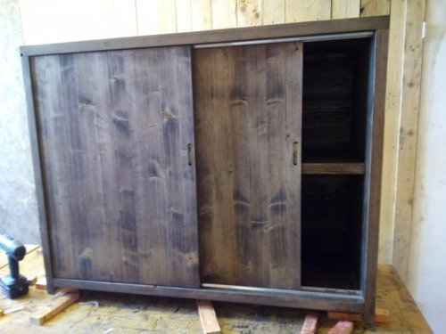 Sliding cabinet made from reclaimed wood