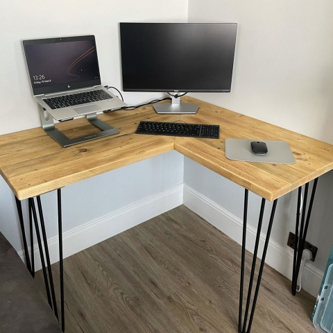 Corner desk made with reclaimed wood