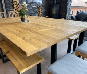 Large Table and set of four benches for holiday cottage