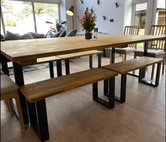 Large Hamble table and benches for holiday cottage