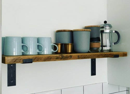 Rustic wooden shelf for mugs