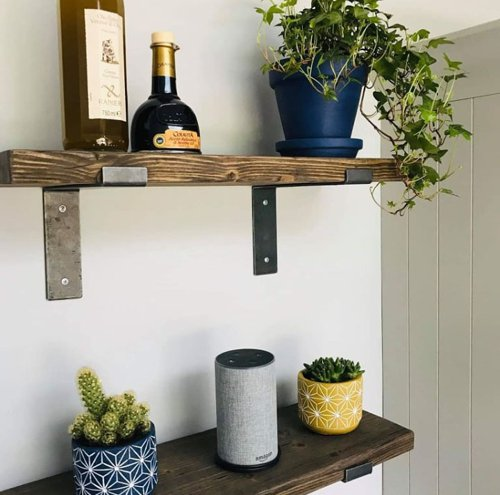 Rustic wooden shelves finished in terra Osmo oil