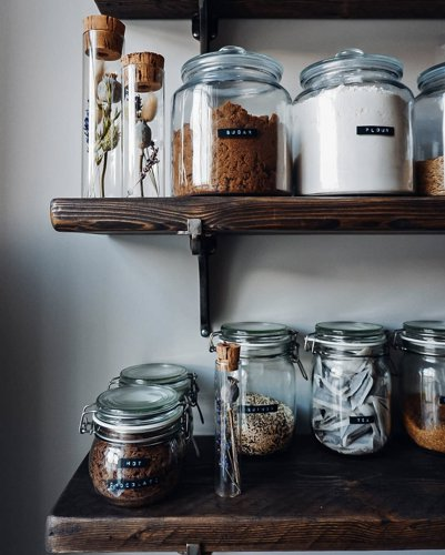 Rustic wooden shelves for kitchen finished in Osmo terra oil close up