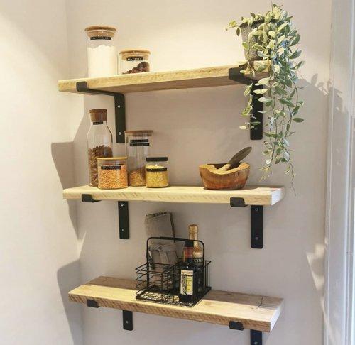 Rustic wooden shelves for kitchen
