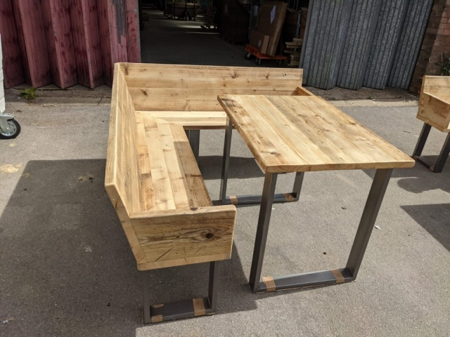 Table & angled bench for the Northbrook Arms