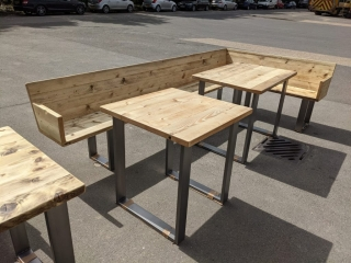 Tables and angled benches for the Northbrook Arms