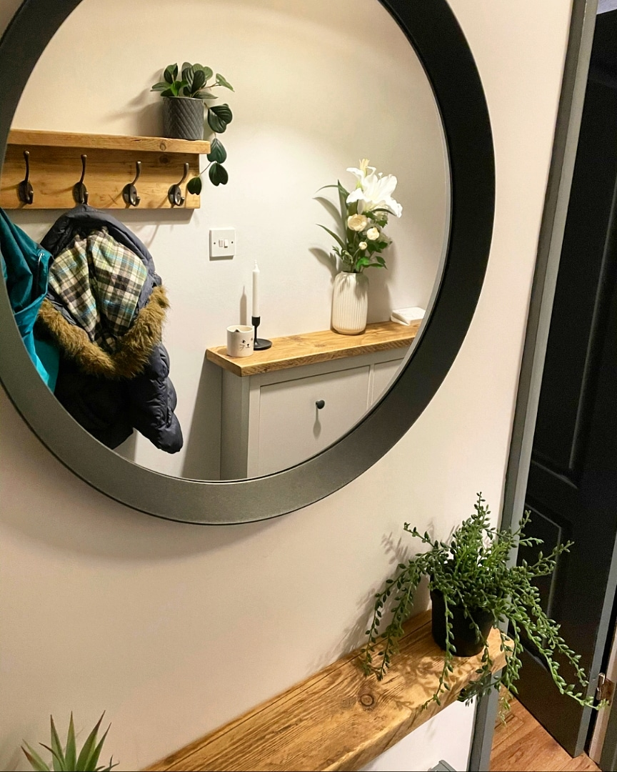 Shoe rack topper with matching coat rack and narrow shelf