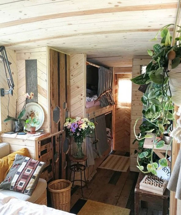 Horse box conversion with angled pallet cladding