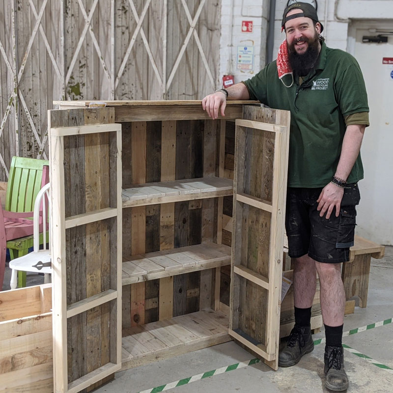 Pallet wood outdoor storage unit with maker Lewis!