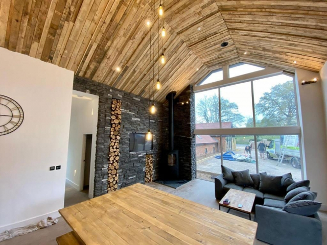 Pallet ceiling in barn conversion